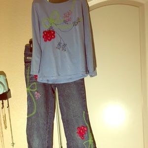 Kids The English roses jeans and shirt set